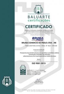 Bruma Pneus - Certificado ISO 9001/2015